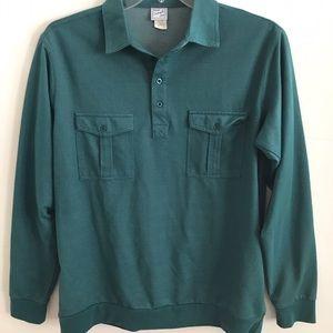 Green Long Sleeves Grandpa Shirt Pocket Large
